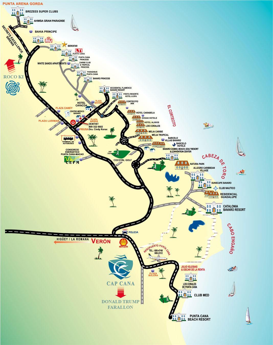 Карта отелей в Доминикане