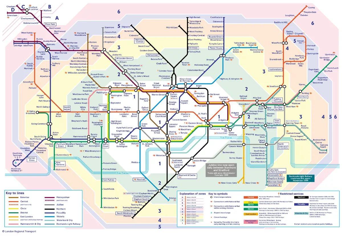 Схема метро Лондона — London Underground